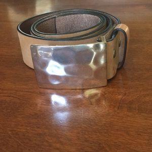 Silpada hammered silver buckle belt sz L
